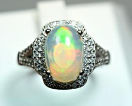 Natural Highest Multi Fire 2.2Carat Opal  ,CZ 925 Silver Ring