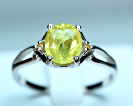 Natural Top Transparent Sphene ,Yellow Sapphire 925 Silver Ring