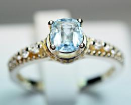 Natural Top Transparent Pakistan Blue Aquamarine ,CZ 925 Silver Ring