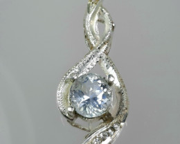 15 carat round aquamarine 925 silver pendents, 44x15x13mm.