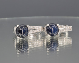 Natural Star Sapphire,Cz and silver Earring