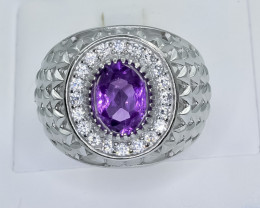 50.04 Crt Natural Amethyst 925 Sterling Silver Ring