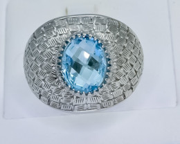 47.72 Crt Natural Topaz 925 Sterling Silver Ring