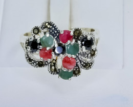 31.45 Crt Natural Ruby Emerald Sapphire 925 Sterling Silver Ring