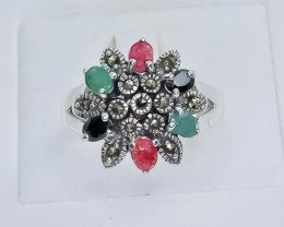34.57 Crt Natural Ruby Emerald Sapphire 925 Sterling Silver Ring