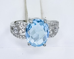 19.74 Crt Natural Topaz 925 Sterling Silver Ring
