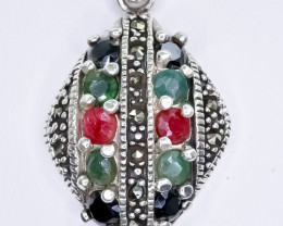 22.49 Crt Natural Ruby Emerald Sapphire 925 Sterling Silver Pendant