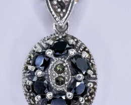 18.19 Crt Natural Sapphire 925 Sterling Silver Pendant