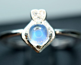 Natural top lustrous lustrous Rainbow Moonstone ,CZ 925 Silver Ring