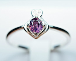 Natural top lustrous transparent Purple Spinel ,CZ 925 Silver Ring