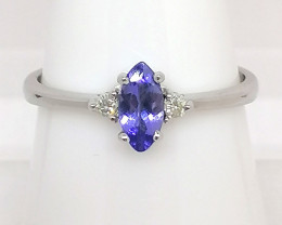 Tanzanite and Diamond Ring 0.35 TCW