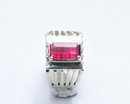 24 Ct Natural Rubellite Transparent Tourmaline Gem Solid Silver Ring