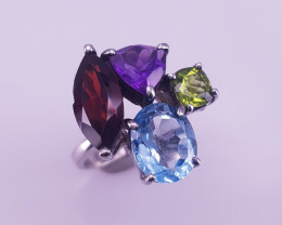 Natural Rhodolite Garnet With Amethyst , Topaz and Peridot Ring.