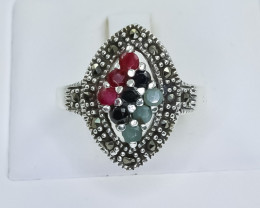 33.34 Crt Natural Ruby Emerald Sapphire 925 Silver Ring