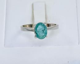 9.96 Crt Natural Emerald 925 Silver Ring