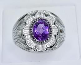 50.44 Crt Natural Amethyst 925 Silver Ring