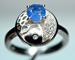 Natural Top Phenomenal Rare 0.42 Carat Blue Afghanite ,CZ 925 Silver Ring