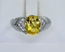 14.14 Crt Natural Citrine 925 Silver Ring