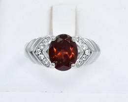 15.09 Crt Natural Garnet 925 Silver Ring