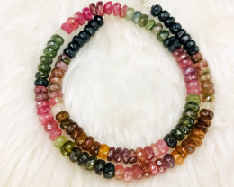 7mm Natural Multi Tourmaline beads Necklace 17 inches Long