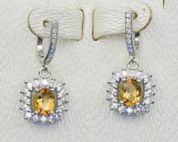 Natural Citrne, CZ and 925 Silver Earring, Elegant Design