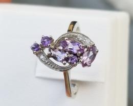 New Design Amethyst Ring in Silver 925