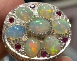 Hand crafted Natural Opal Ring with Cz.