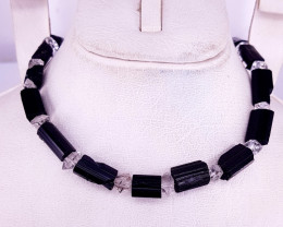 Natural Beautiful Black Tourmaline And Quartz Necklaces