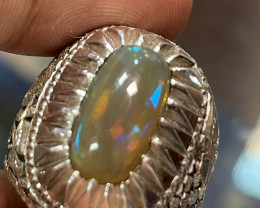 Hand crafted Natural Opal Gents Ring.