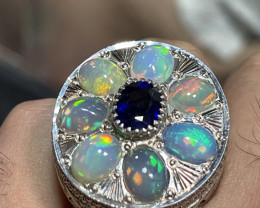 Hand crafted Natural Opal and Sapphire Ring.