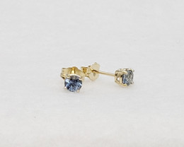 Blue Sapphire Birthstone Stud Earrings Mounted in 14k Yellow Gold, Sapphire