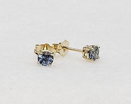 Blue Sapphire Birthstone Stud Earrings Mounted in 14k Yellow Gold, Sapphire