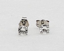 White Sapphire Birthstone Stud Earrings Mounted in 14k White Gold, Sapphire
