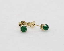 Emerald Birthstone Stud Earrings Mounted in 14k Yellow Gold, Cabochon Cut,