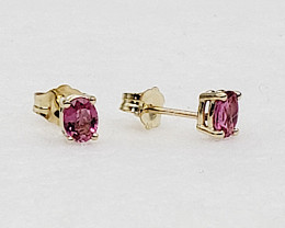 Pink Tourmaline Birthstone Stud Earrings Mounted in 14k Yellow Gold, Oval C