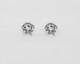 White Zircon Birthstone Stud Earrings Mounted in 14k White Gold – Zircon is