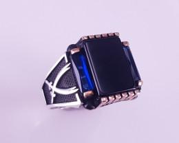 Natural Black Agate 925 Ring