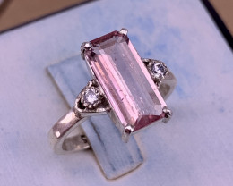 Natural Pink Tourmaline with CZ Ring.