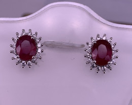 Natural Ruby with CZ Ear studs.