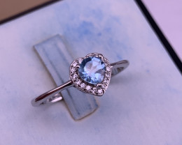Heart shape Natural Blue Topaz with CZ.