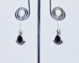 BLACK ONYX EARRINGS 925 STERLING SILVER NATURAL GEMSTONE JE158
