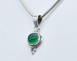 GREEN ONYX PENDANT 925 STERLING SILVER NATURAL GEMSTONE JP163