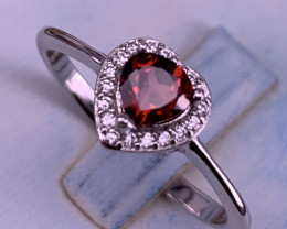 Natural Rhodolite Garnet Heart Shape Ring With CZ