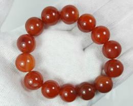 14 mm radish brown agate bracelet strand.