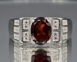 Natural Rhodolite, CZ and 925 Silver Ring