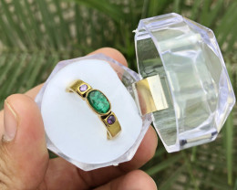 22.80 Ct Natural Brass Transparent Emerald and Amethyst TOP Quality Ring