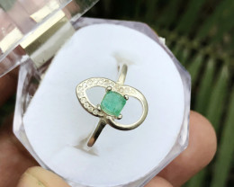 12.80 Ct Natural Emerald Transparent Panjsheer Gemstone Ring Size 6