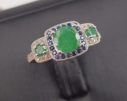 Natural Emerald with Sapphire Ring.