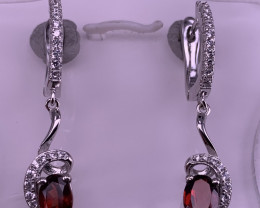 Natural Garnet Earring with CZ.