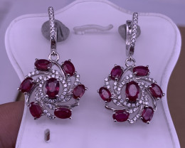 Natural Ruby with CZ earrings.